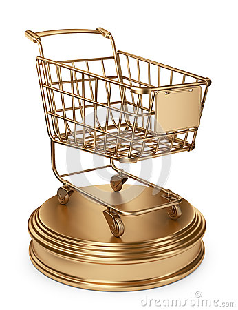 Free Golden Market Cart. Best Sellers Concept. 3D Isolated Royalty Free Stock Images - 30551369