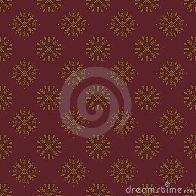 Golden and Maroon Damask Seamless Pattern