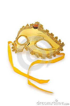 Golden mask  on  white