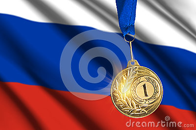 Golden medal against Russian flag background