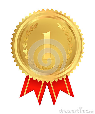 Golden medal of First place. Vector