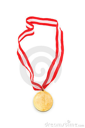 Golden medal isolated