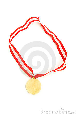 Golden medal isolated on the white