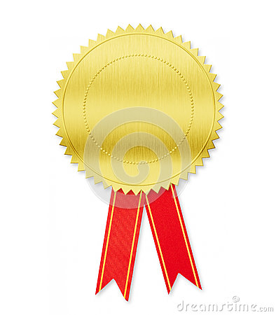 Golden medal with red bow isolated