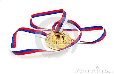 Golden medal and ribbon