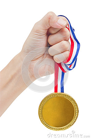 Golden Medal In Woman Hand.