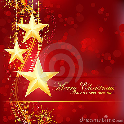 Golden Merry Christmas stars on red background