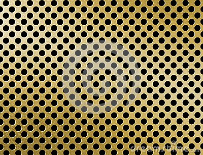 Golden metal grille surface