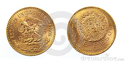Golden Mexican coin