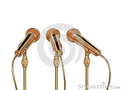 Golden microphones isolated