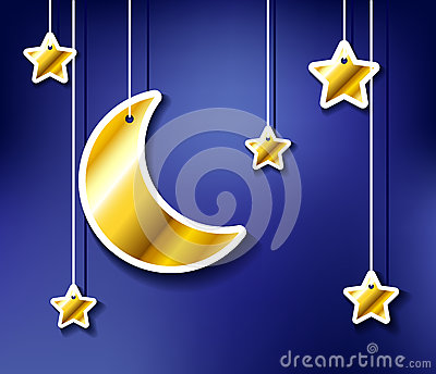 Golden moon and stars hanged