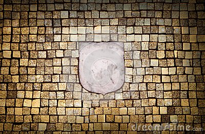 Golden mosaic wall with empty emblem element