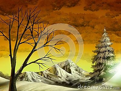 Golden Mountain Landscape
