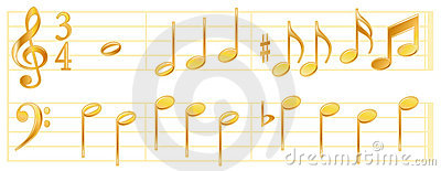Golden Music Notes
