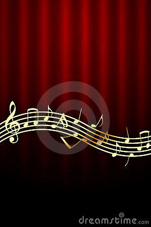 Golden Music Notes on Red Background