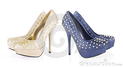 Golden and navy blue glitter spiked shoes
