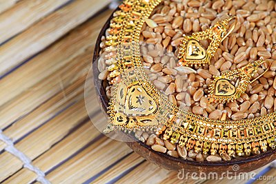 Golden necklace and ear-rings jewellery