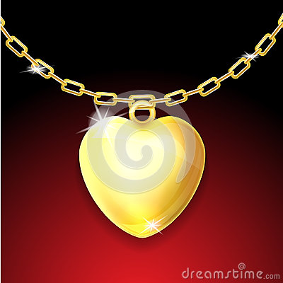 Golden necklace with glossy heart
