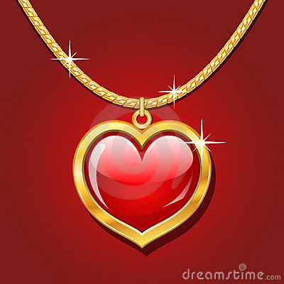Golden necklace with ruby heart
