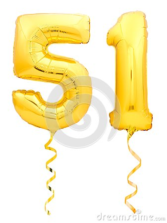 Free Golden Number Fifty One 51 Made Of Inflatable Balloon With Ribbon On White Stock Images - 104415064