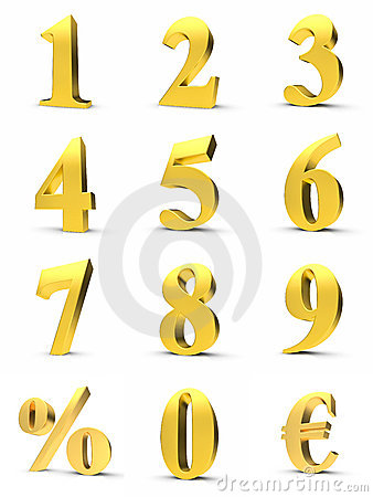 Free Golden Numbers Royalty Free Stock Photo - 20523235