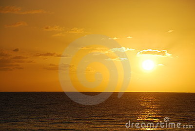 Golden ocean sunset