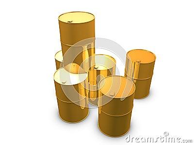 Golden oil barrels