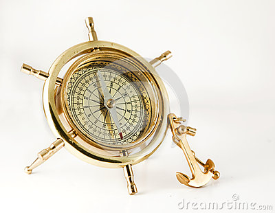 Golden old  compass with anchor