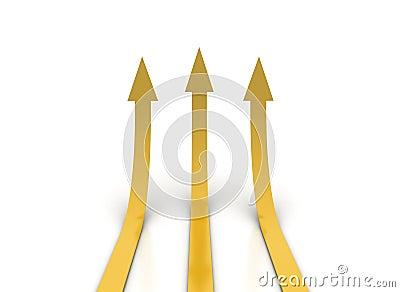 Golden orange arrows going up