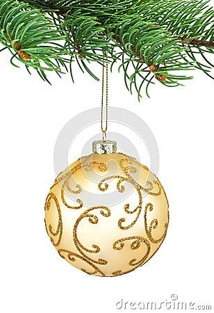 Golden ornament christmas ball in a fir tree