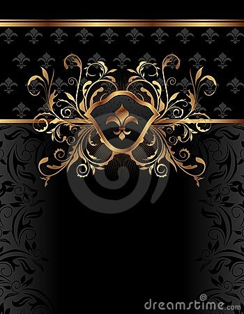 Golden ornate frame for design