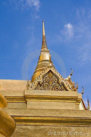 Golden pagoda in the Grand palace area in Bangkok,