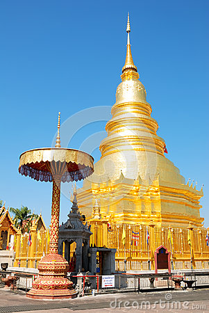 Golden Pagoda at Hariphunchai temple
