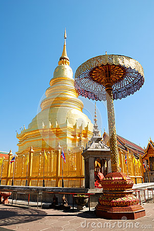 Golden Pagoda at Hariphunchai temple