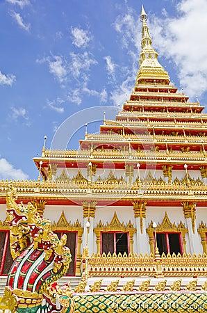 Golden pagoda at the temple, Khonkaen Thailand