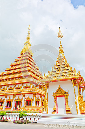 Golden pagoda at the Thai temple
