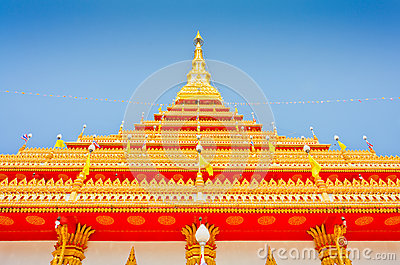 Golden pagoda at the Thai temple, Khonkaen Thailand