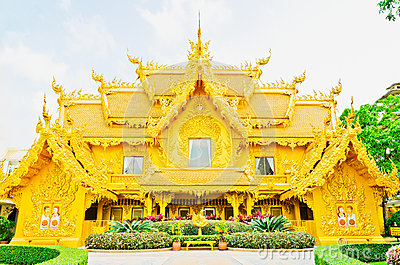 Golden pagoda at the Thai temple, Thailand