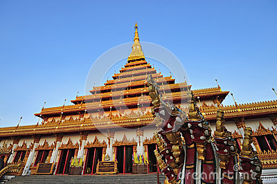 Golden pagoda at Wat Nong Wang temple, Khonkaen Thailand