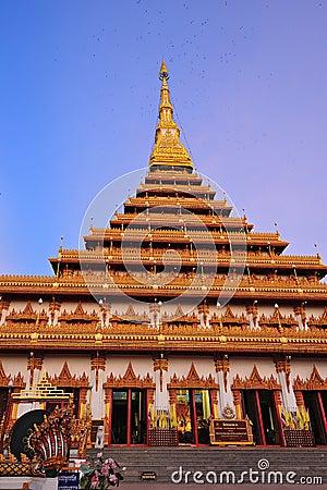 Golden pagoda at Wat Nong Wang temple, Khonkaen Thailand
