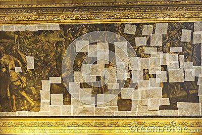 Golden painting under renovation