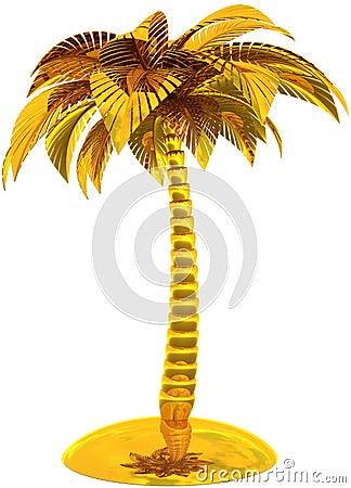 Golden palm tree tropical island stylized