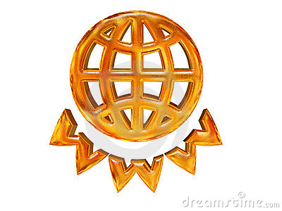 Golden patterned globe and WWW letters