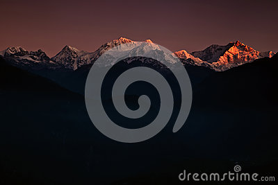 Golden peaks of Kanchenjunga