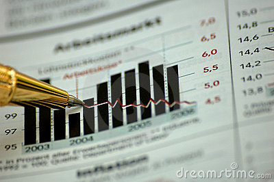 Golden pen showing diagram on financial report
