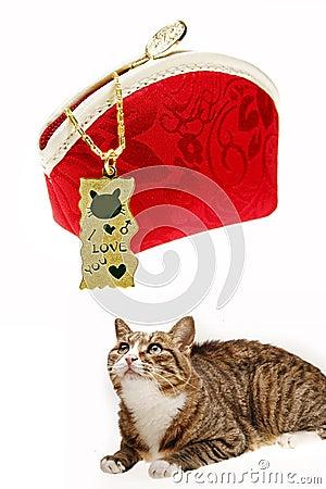 Golden pendant with cat