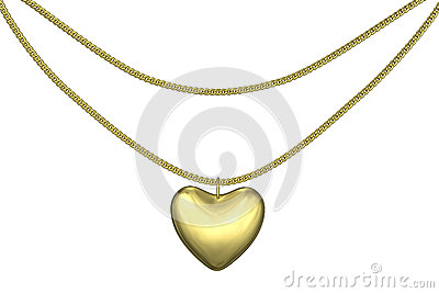 Golden pendant heart