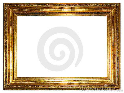 Golden photo frame (clipping path)