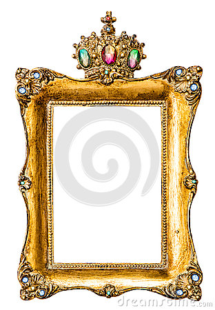 Free Golden Picture Frame Decorated With Gemstones Stock Photography - 61174532