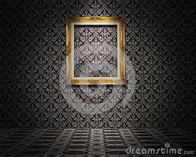 Golden picture frame on the wall